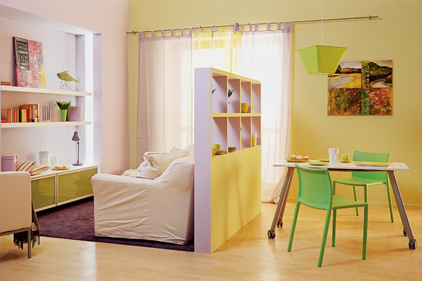 зонирование комнаты перегородками фото